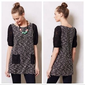 Anthro Postmark Staccato Lace Sleeve Tunic